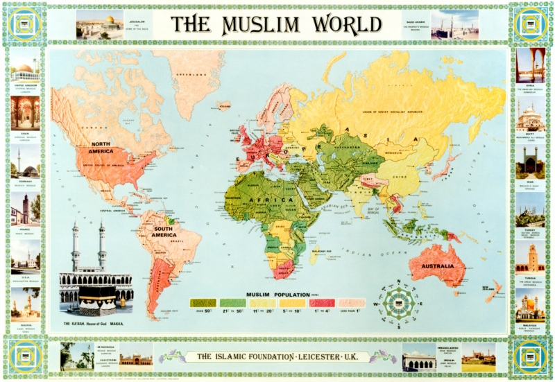 The Muslim World Map in Colour (English ) - The Islamic Foundation