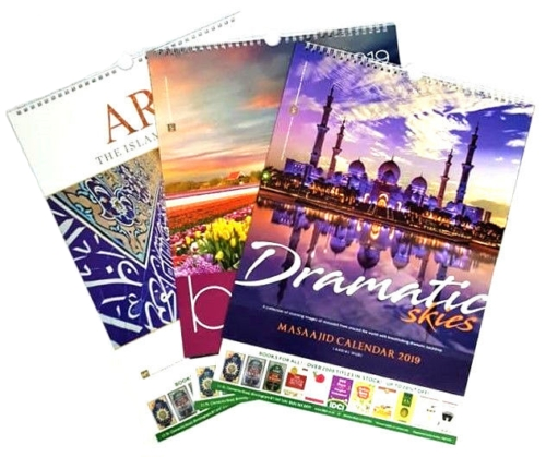 3x IDCI CALENDARS 2019 : Islamic Hijri and Gregorian Wall Calendar 2019